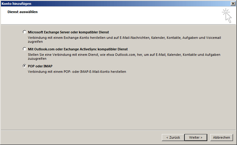 Microsoft Outlook 2013 POP3 Einrichtung Step 2