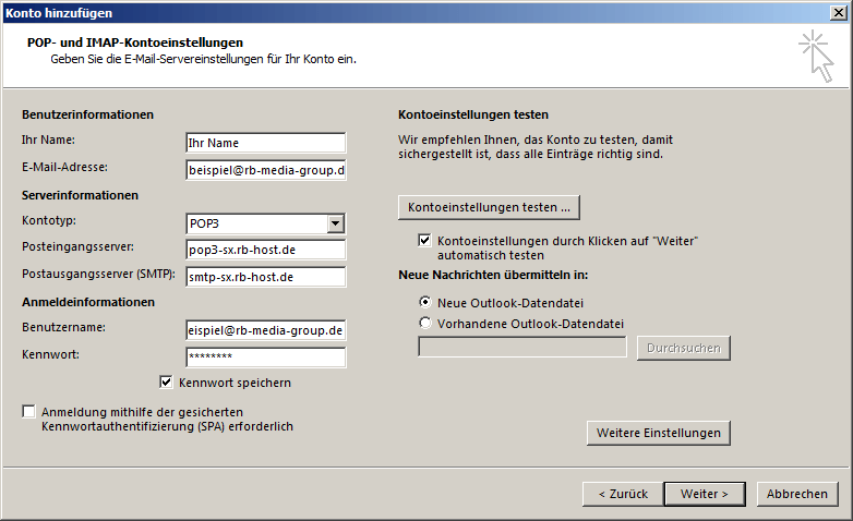 Microsoft Outlook 2013 POP3 Einrichtung Step 3