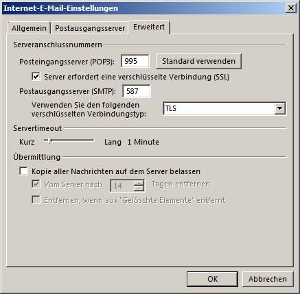 Microsoft Outlook 2013 POP3 Einrichtung Step 6